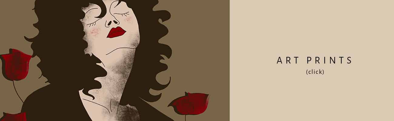 partial stylized illustration of a female portrait with closed eyes, two roses close to her