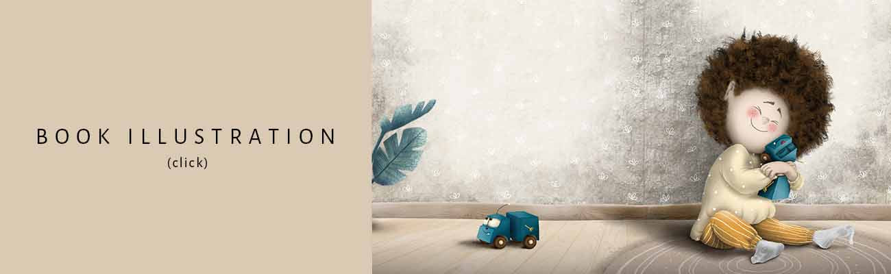 illustration of a little boy holding a truck toy, he is sitting on the floor on a carpet, on the left side is a truck toy on the floor and leaves of a plant at the side