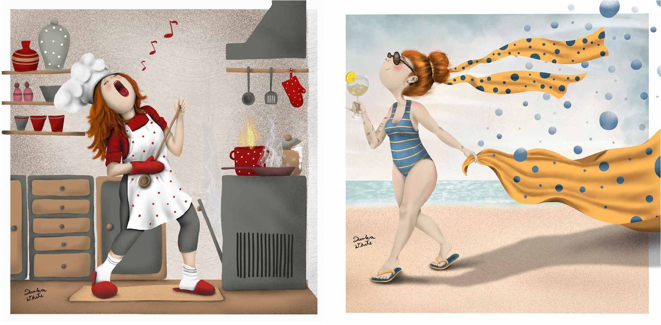 two illustrations: left is a woman in the kitchen, having fun, singing and playing an imaginary guitar while the food is burning in the stove, right: a woman walking on the beach, holding a towel in one hand and a glass of a fresh drink in the other hand