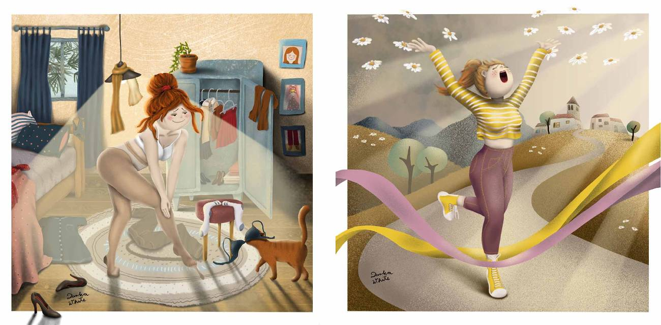 two illustrations, left: a woman in her messy room putting on stockings, she accidentally threw her bra on her cat. Right: a happy woman walking down the street, her hand in the air, she's singing, spring is coming, flowers in the air, a village on the hill is in the background