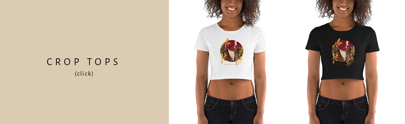 """""""Crop tops"""" sign on the left side of the image. On the right side are two images of the same woman wearing a crop top with an illustrated female portrait."""