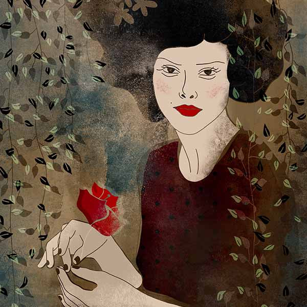 An illustration of a woman holding a flower in her hands.