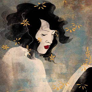 an illustrated profile of a lady looking thoughtful, around her are simple flowers