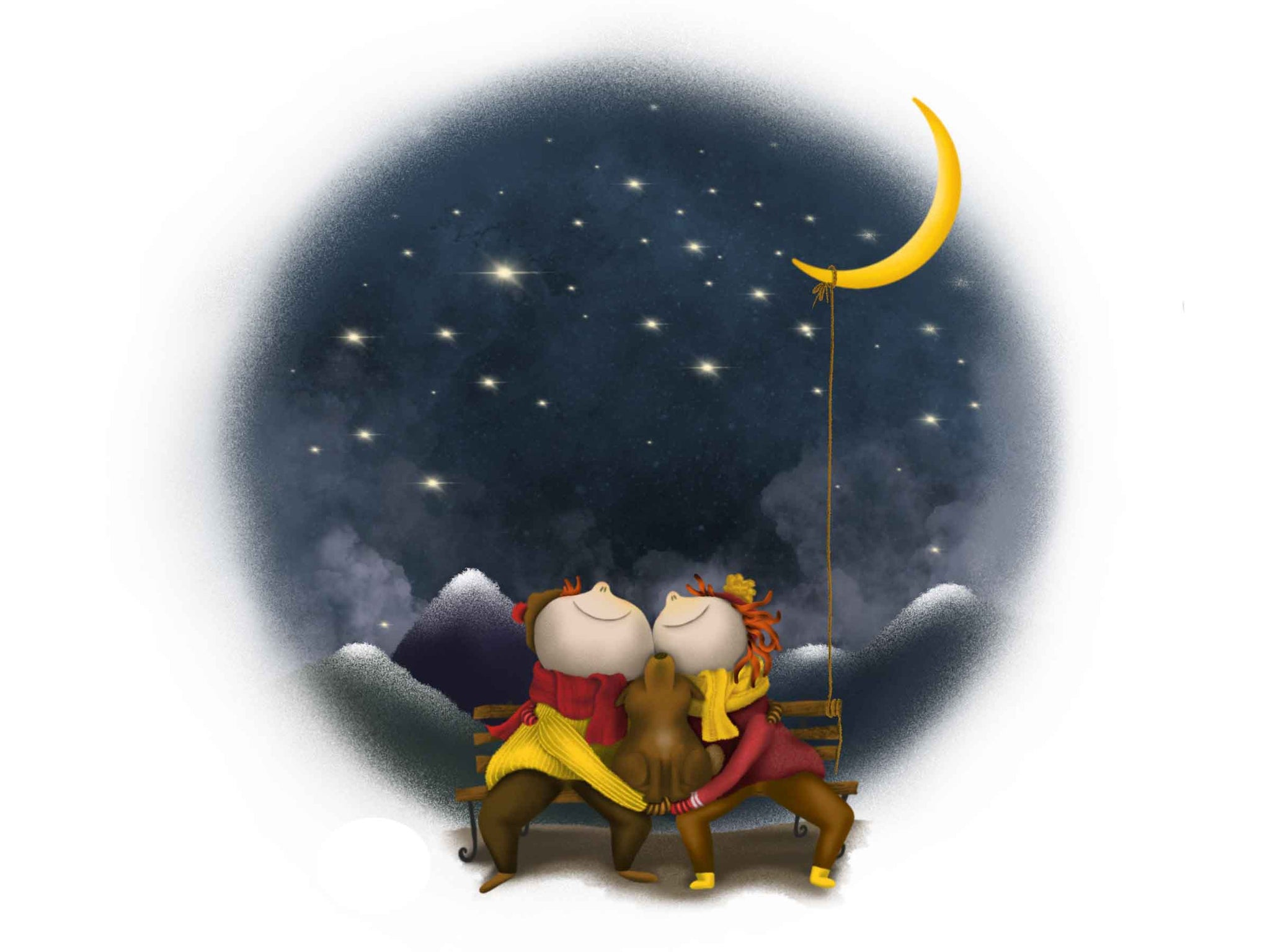 a cute illustration of a couple sitting on a bench, between them is a dog, they're all looking up at the stars, behind them are hills, the moon is tied to the bench with a rope