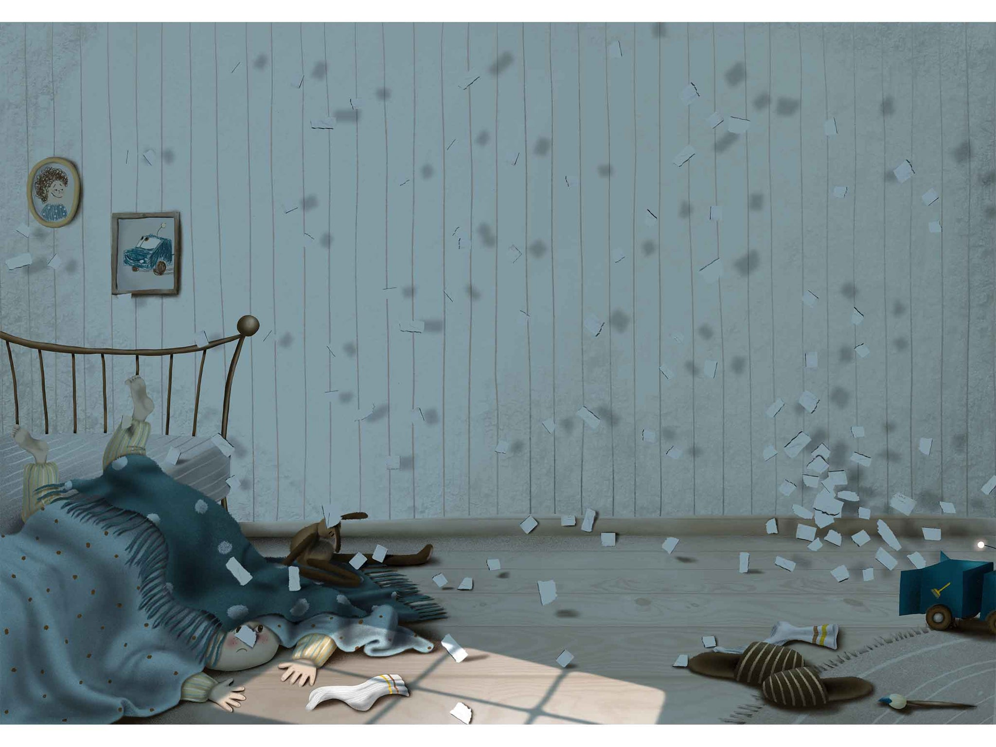 an illustrated image of a room, in the room is a boy who fell from the bed, tiny papers flying around, sleepers, brush and a sock lying on the floor, papers are flying towards a truck toy