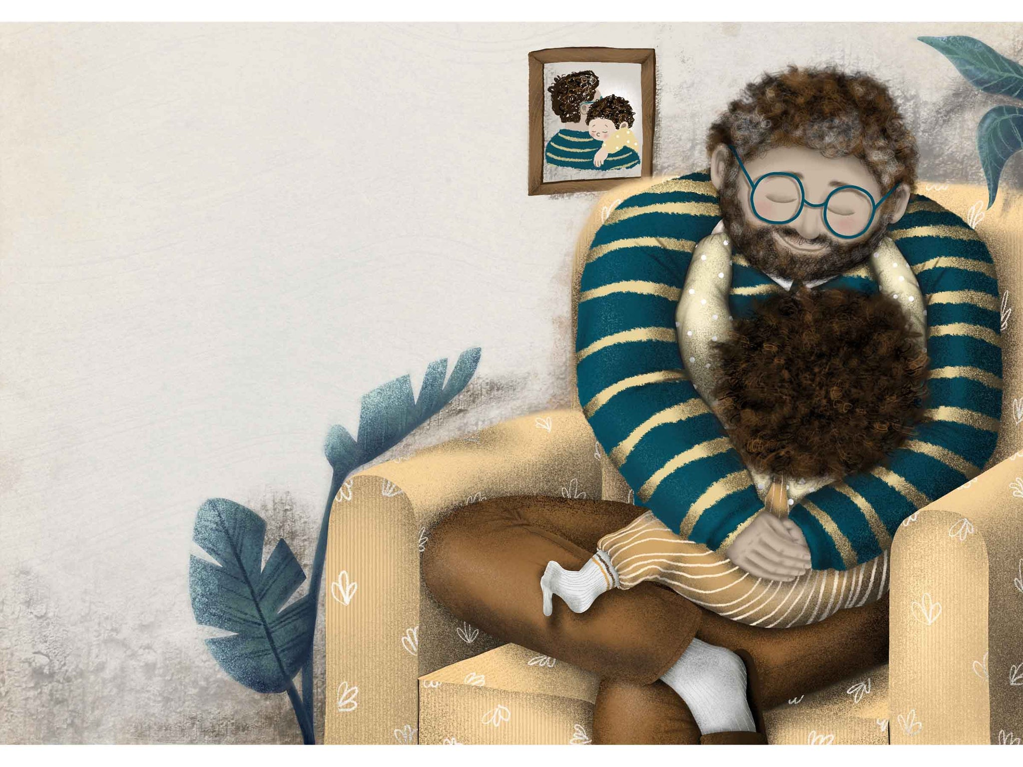 illustration for kids, dad hugging his little son, they're sitting in a chair, behind them is a photo of the two of them