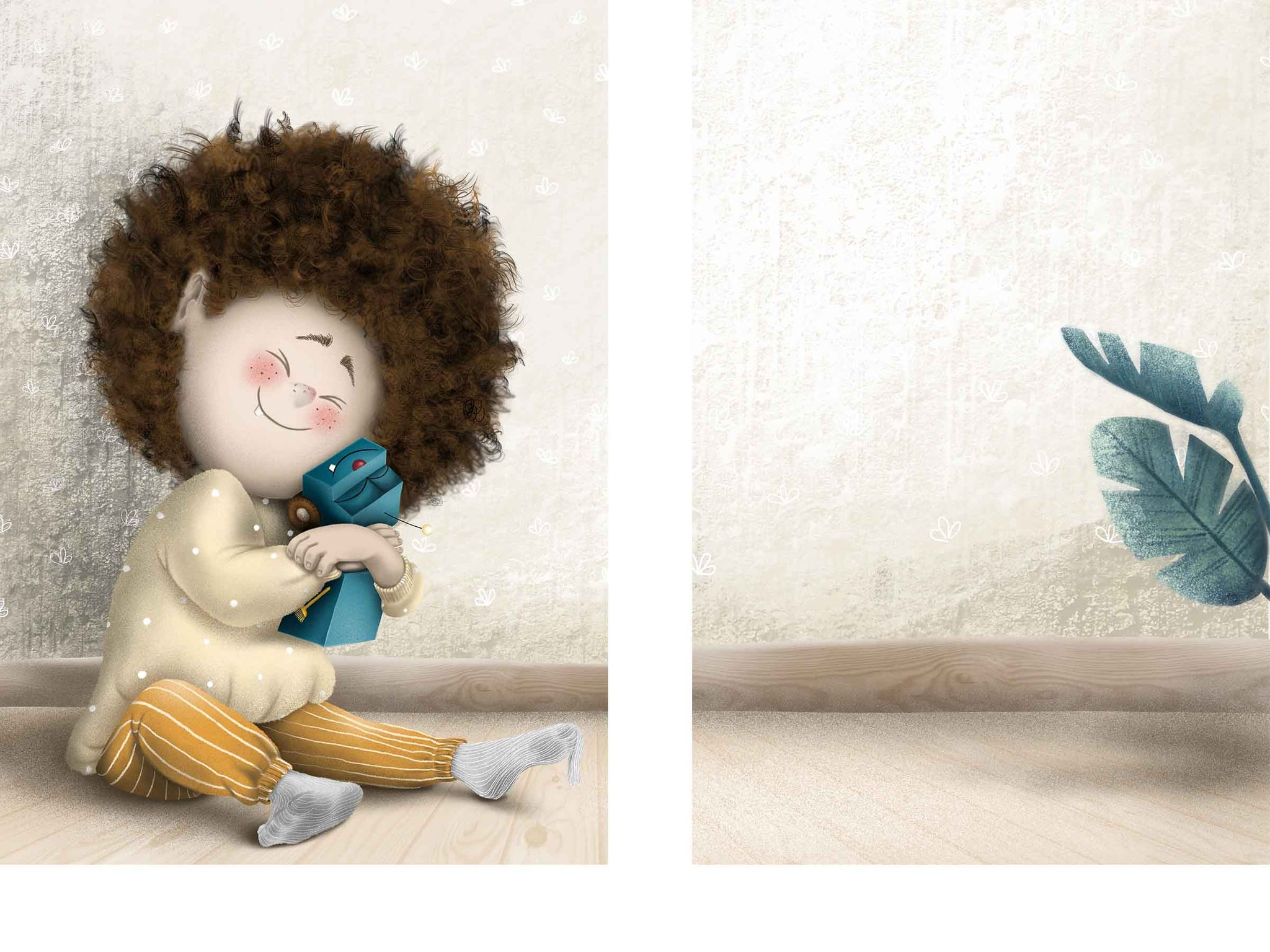 A children's illustration of a little boy with curly hair sitting on the floor, holding a truck toy. Both are very happy