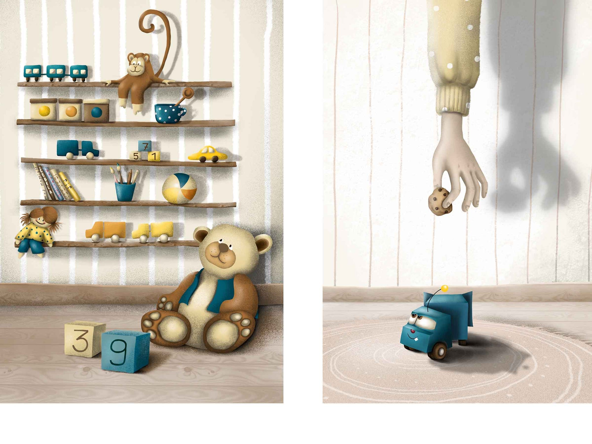 two different children's illustrations, left: shelves with several toys, right: a hand holding a cookie and offering it to a truck toy
