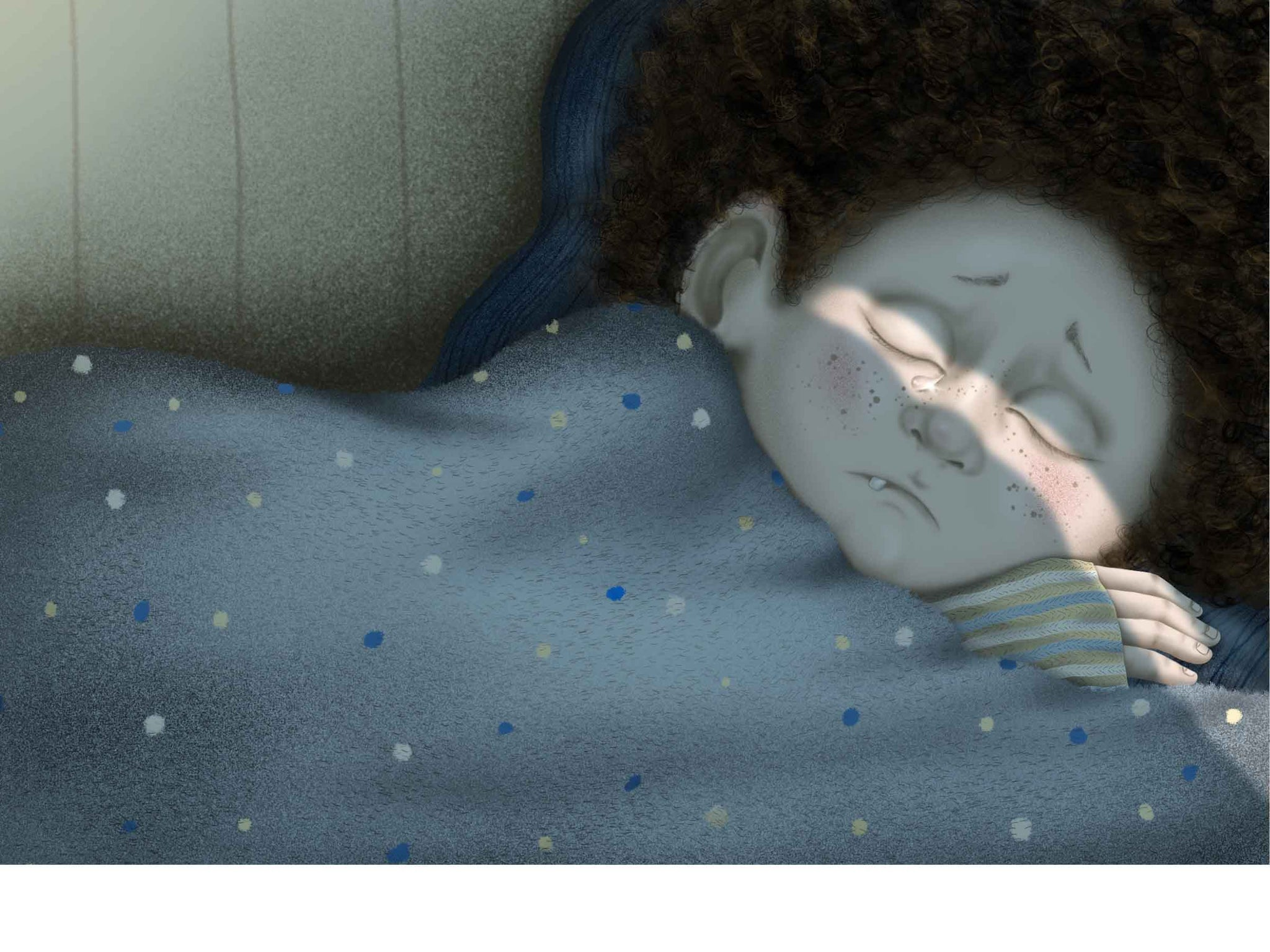 an illustration of a little boy lying in bed with eyes closed, a tear is falling down his face