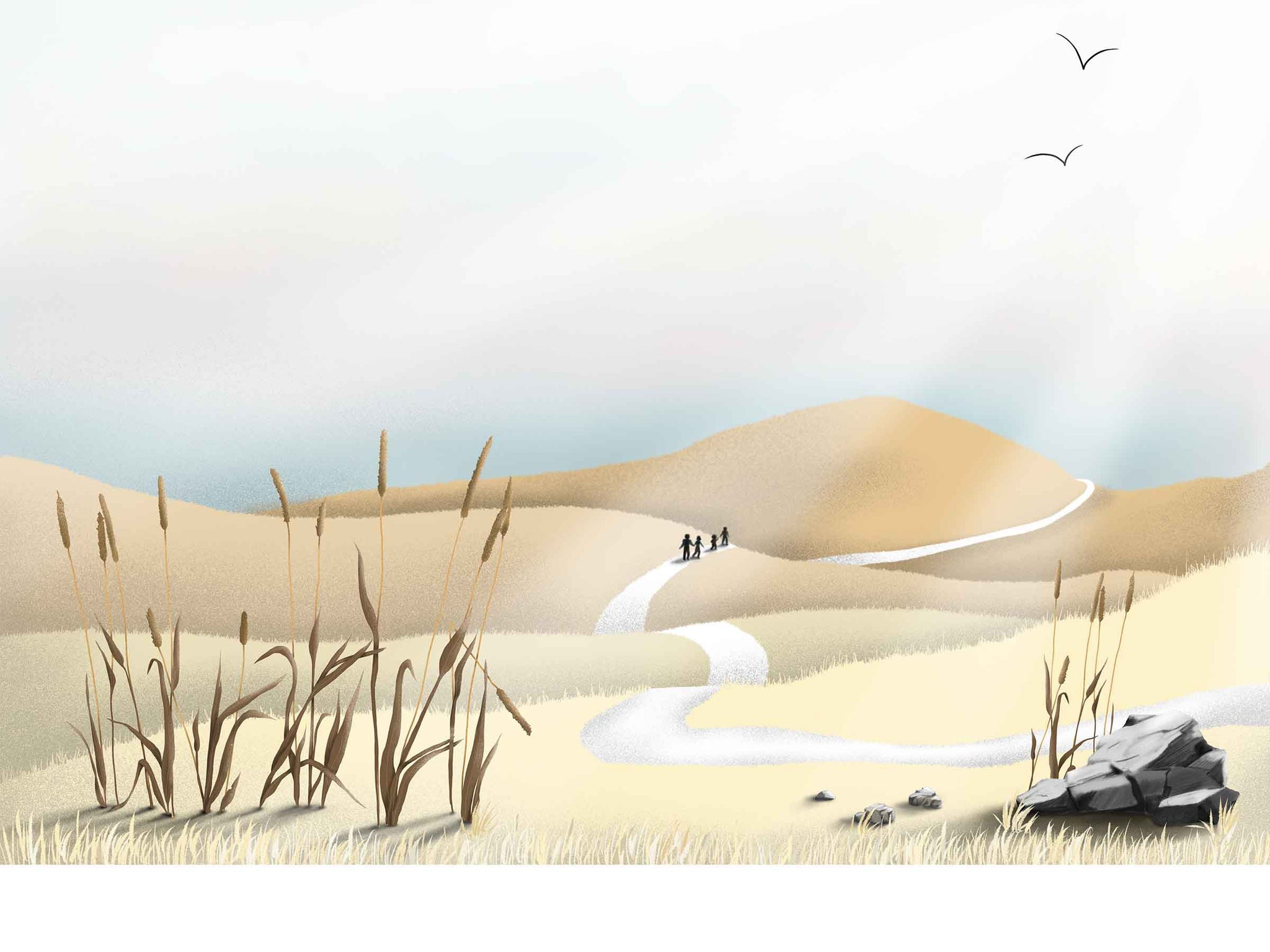 an illustration of nature, hills, family walking down the road