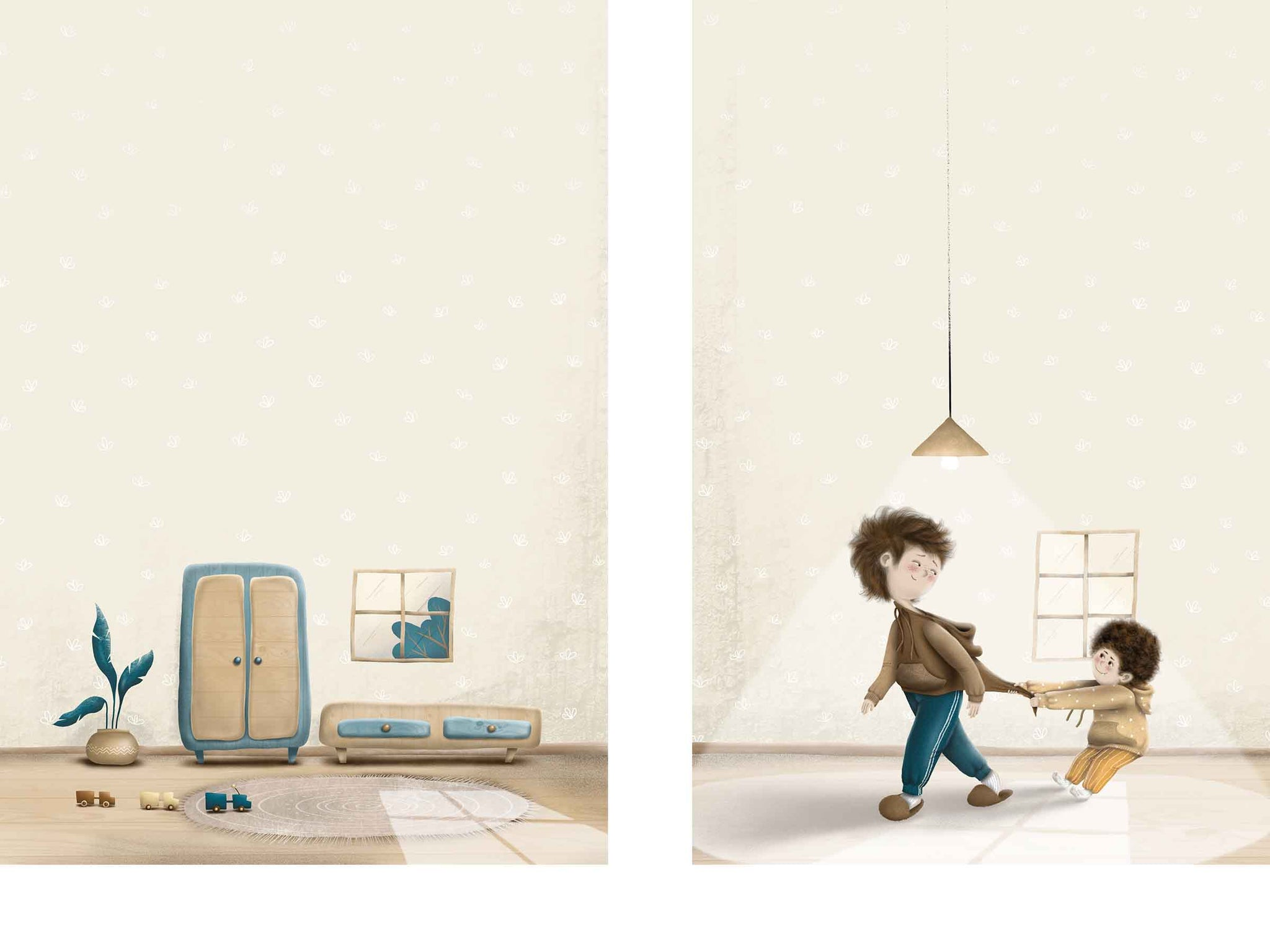 Two illustrations for kids, left: a stylized living room with a plant and toys on the floor, right: two little brothers, small one pulling the big one for his sweater, behind them is a window