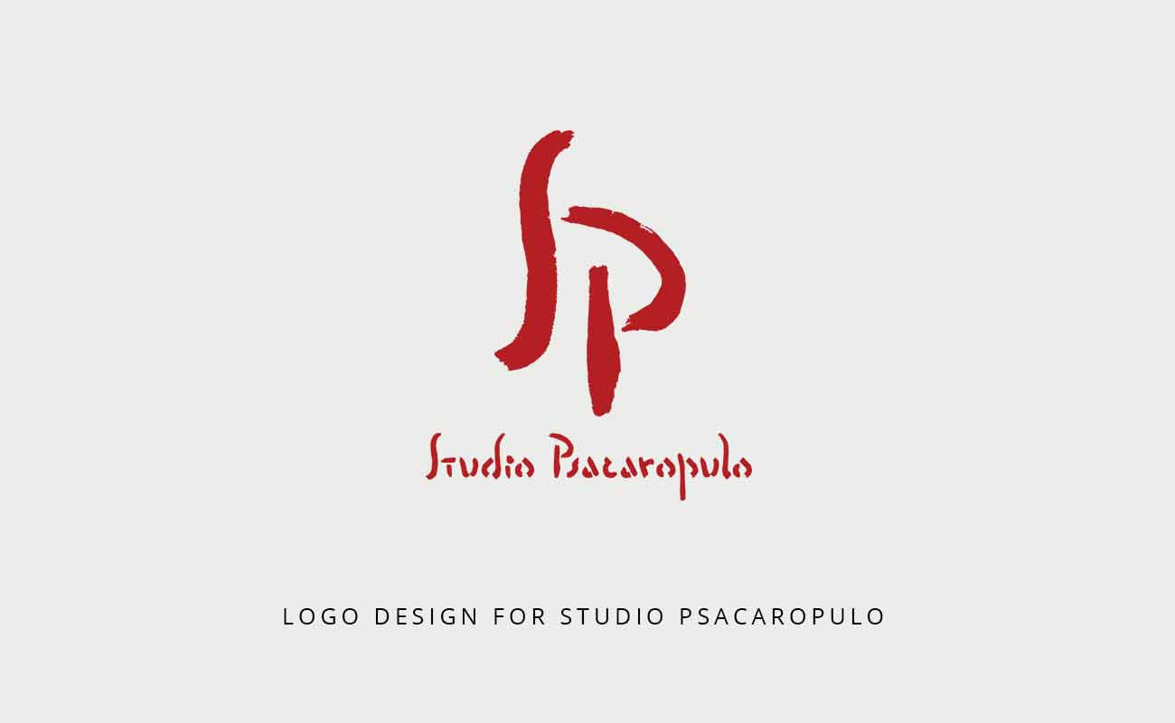 A presentation of a logo design for Studio Psacaropulo by Darka White.