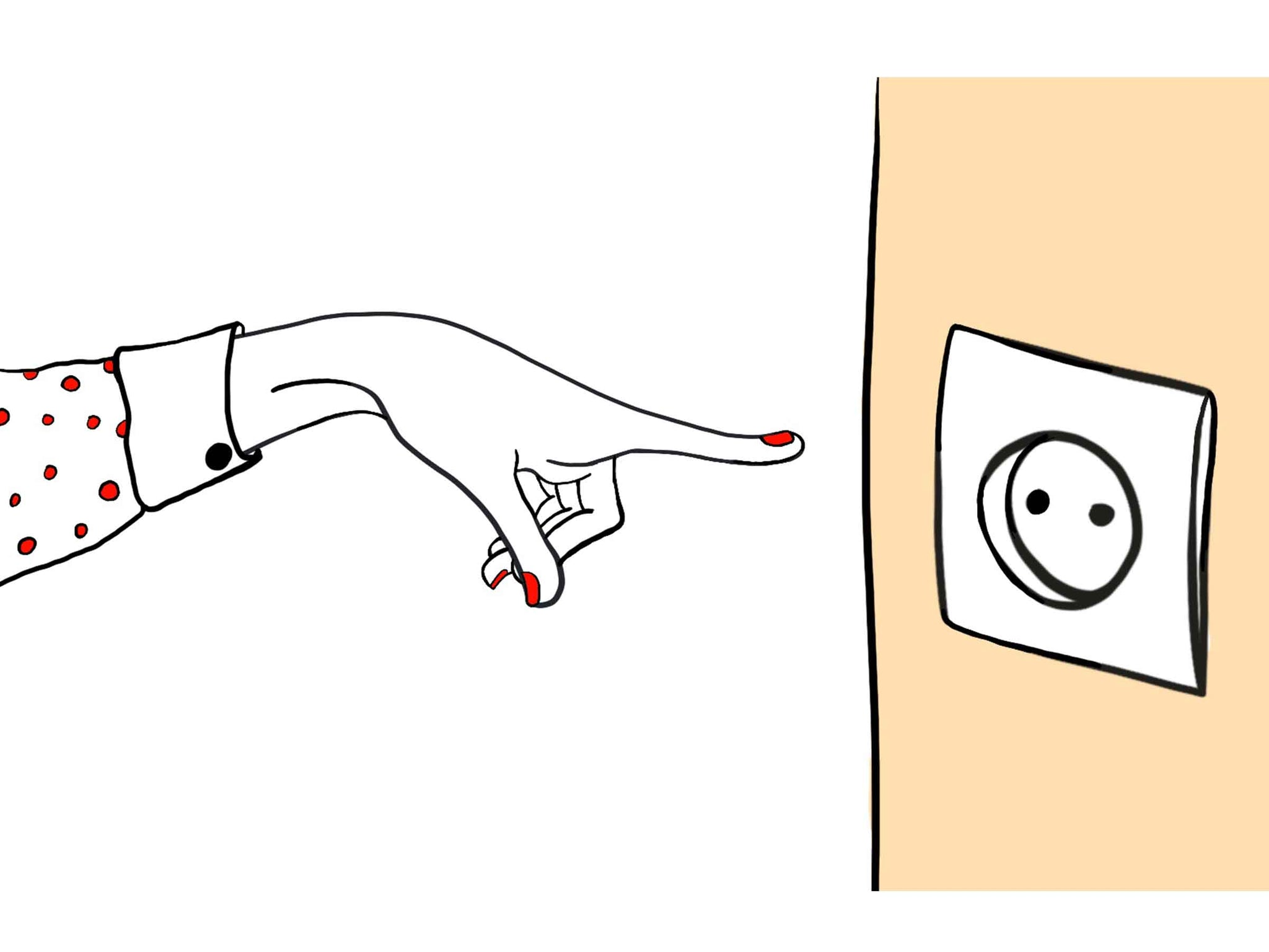 An illustration of a hand pointing a finger towards a socket