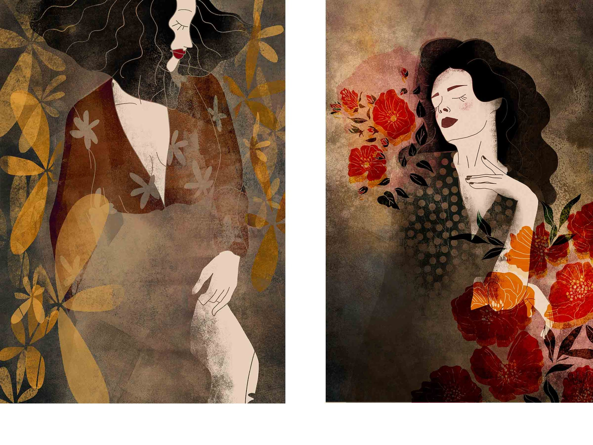 two separate stylized illustrated female portraits, both have eyes closed, both are beautiful and peaceful, both surrounded with flowers
