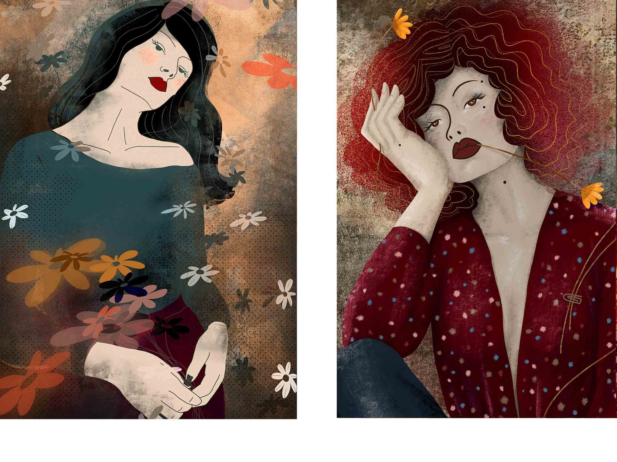 two separate stylized illustrated female portraits, both surrounded with flowers, both looking straight into your eyes