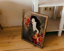 Load image into Gallery viewer, A framed illustrated artwork of a female portrait by Darka White. Old wooden frame leaning on some shelves.