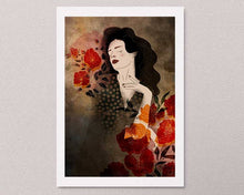 Load image into Gallery viewer, An illustrated art print on the wall: a stylized illustration of a female portrait with some flowers. Artwork by Darka White.