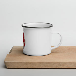 An enamel mug on a wooden desk. Illustration by Darka White