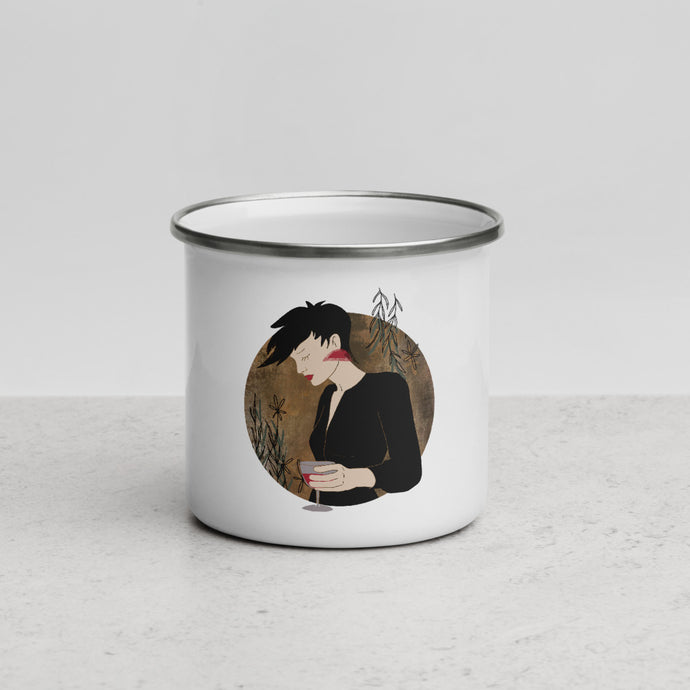 An enamel mug with an illustrated female portrait by Darka White.
