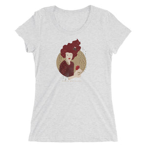 "A T-shirt with a print. The print is a circled illustration of a woman's portrait. A sign says: ""Darka White Art"""