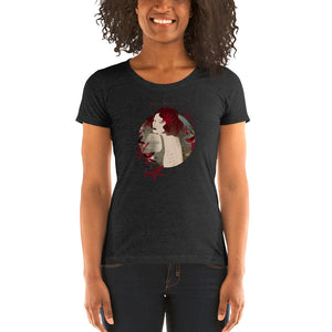 "A woman wearing a T-shirt with a print. The print is a circled illustration of a woman's portrait. A sign says: ""Darka White Art"""