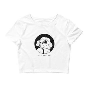 "A crop top with a print. The print is a circled illustration of a woman's portrait. A sign says: ""Darka White Art"""