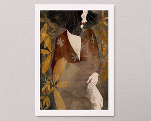 An illustrated art print on the wall: a stylized illustration of a female portrait with some flowers. Artwork by Darka White.