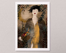 Load image into Gallery viewer, An illustrated art print on the wall: a stylized illustration of a female portrait with some plants. Artwork by Darka White.