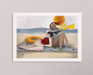 An illustrated art print on the wall: a stylized illustration of two women by the sea. Artwork by Darka White.
