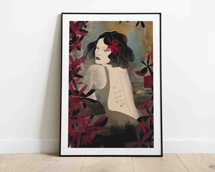 A framed stylized illustrated artwork of a female portrait by Darka White. Illustrated woman has a sign on her back that says: