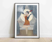 Load image into Gallery viewer, A framed illustration of a woman smoking, she's on the stage, dressed in the style of the roaring 20's. Artwork by Darka White.  The frame is on the floor, leaning on the wall.