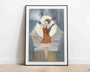 A framed illustration of a woman smoking, she's on the stage, dressed in the style of the roaring 20's. Artwork by Darka White.  The frame is on the floor, leaning on the wall.