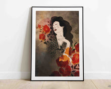 Load image into Gallery viewer, Framed artwork leaning on the wall: a stylized illustration of a female portrait with some flowers. Illustration by Darka White.