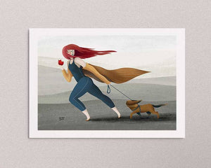 An illustrated art print on the wall: a stylized illustration of a girl with an apple in one hand and a dog on a leash in the other hand, she's walking outside and it's windy. Artwork by Darka White.