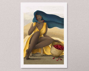An illustrated art print on the wall: a stylized illustration of a female portrait with cherries. Artwork by Darka White.