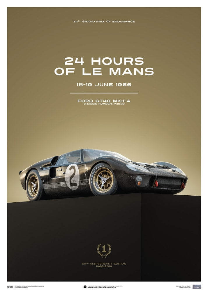 Ford GT40 - Black - 24h Le Mans - 1966 - Limited Poster