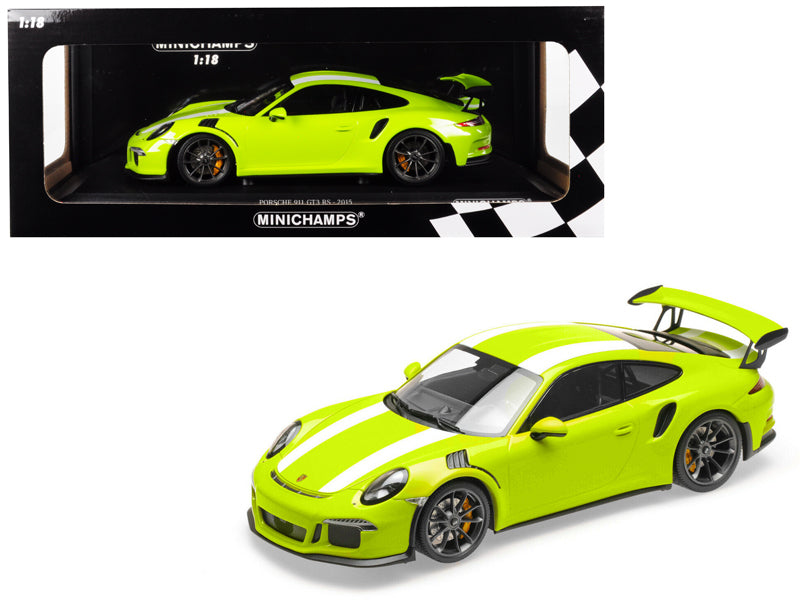 Cargar imagen en el visor de la galería, 2015 Porsche 911 GT3 RS Light Green with White Stripes Limited Edition to 222 pieces Worldwide 1/18 Diecast Model Car by Minichamps