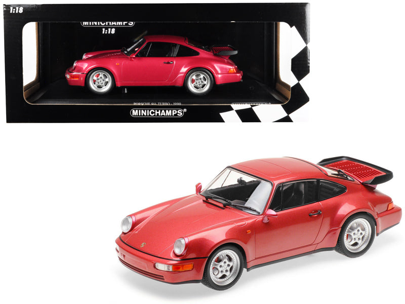 1990 Porsche 911 Turbo Metallic Red Limited Edition to 504 pieces Worldwide 1/18 Diecast Model Car by Minichamps
