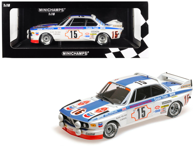 "BMW 3.0 CSL #15 Harald Menzel / Alain Peltier ""BMW Alpina\"" 24 Hours SPA 1973 (Malcolm Gartian Racing) Limited Edition to 336 pieces Worldwide 1/18 Diecast Model Car by Minichamps"