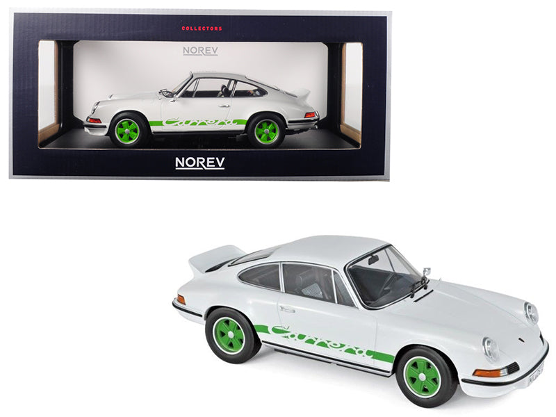 1973 Porsche 911 RS Touring White with Green Stripes and Wheels 1/18
