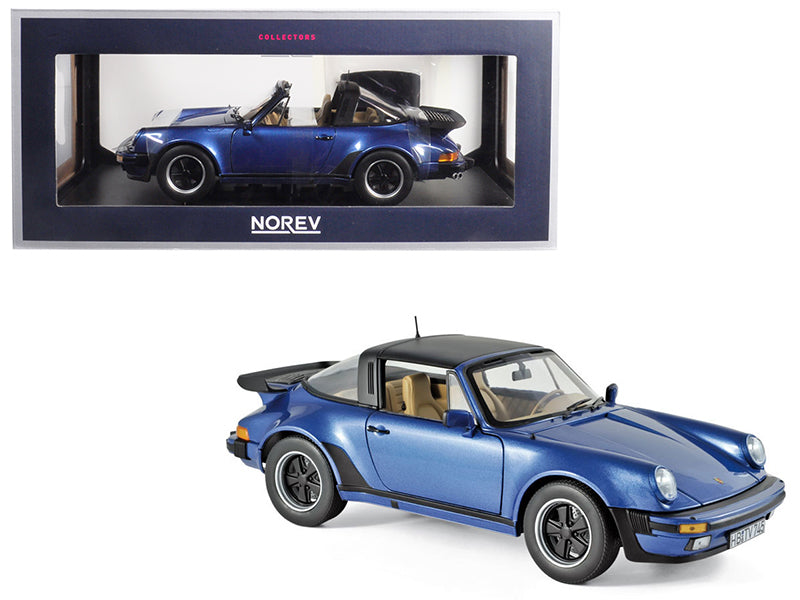 1987 Porsche 911 Turbo Targa 3.3 Blue Metallic 1/18 Diecast Model Car by Norev