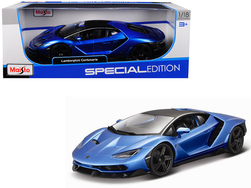 Lamborghini Centenario Blue Metallic with Black Top 1/18 Diecast Model Car by Maisto