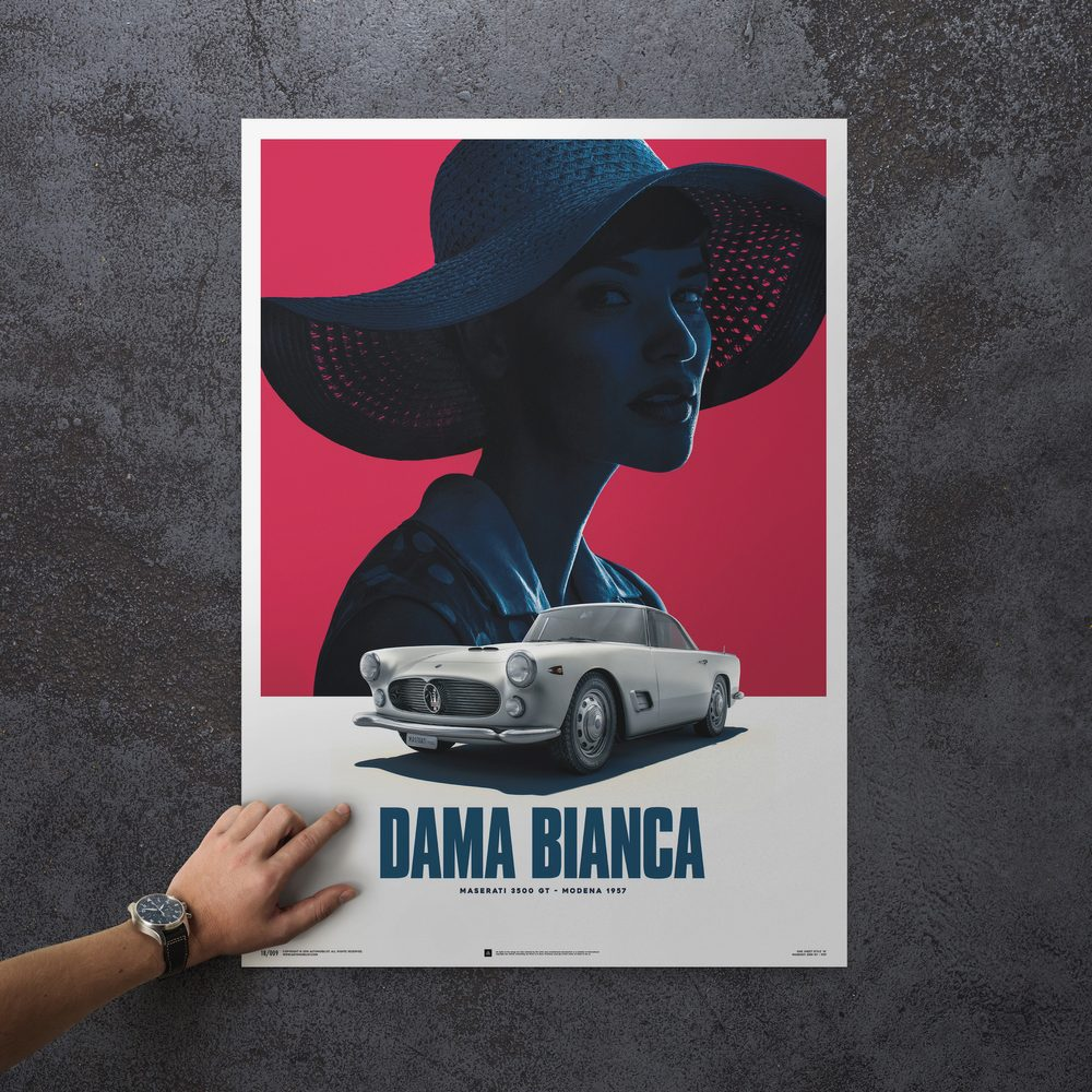 Load image into Gallery viewer, Maserati 3500 GT - White - Dama Bianca - 1957 - Poster