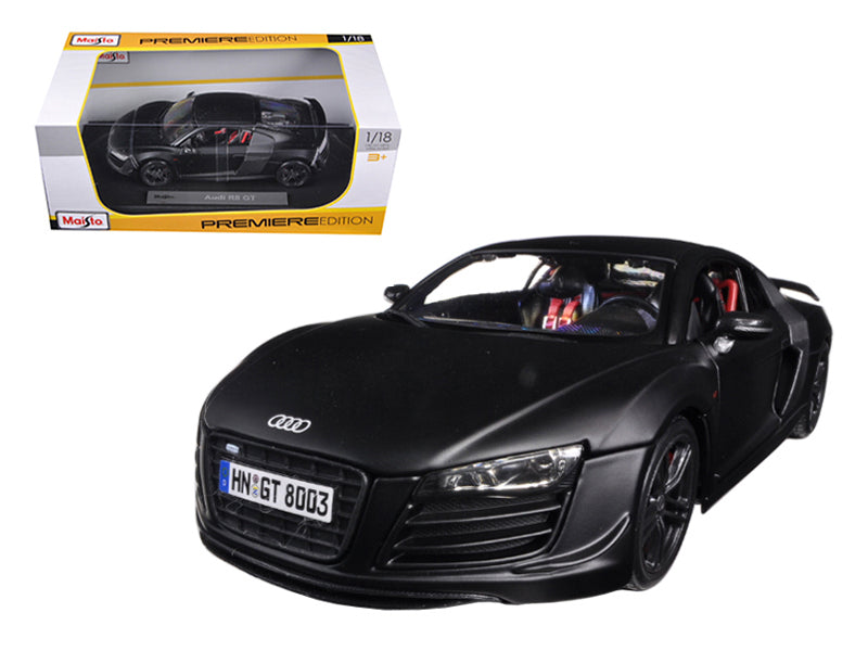Audi R8 GT Matt Black 1/18 Diecast Car Model by Maisto