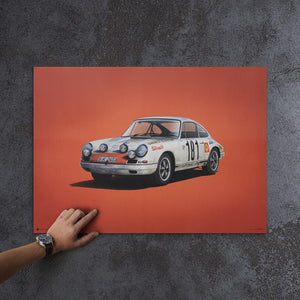 Porsche 911R - White - Tour de France - 1969 - Colors of Speed Poster