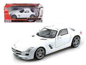 Mercedes SLS AMG Gullwing White 1/18 Diecast Car Model by Motormax