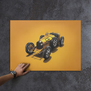 Bugatti T35 - Yellow - Targa Florio - 1928 - Colors of Speed Poster