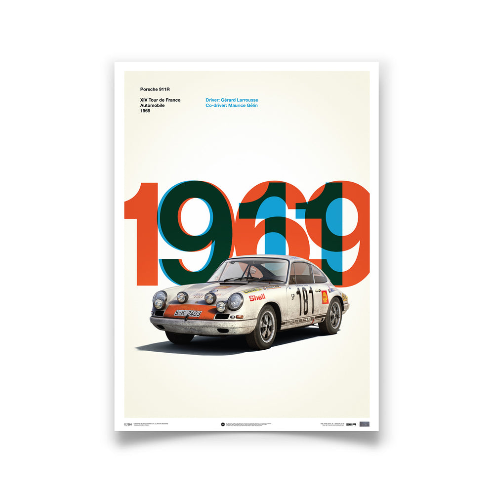 Porsche 911R - White - Tour de France - 1969 - Limited Poster