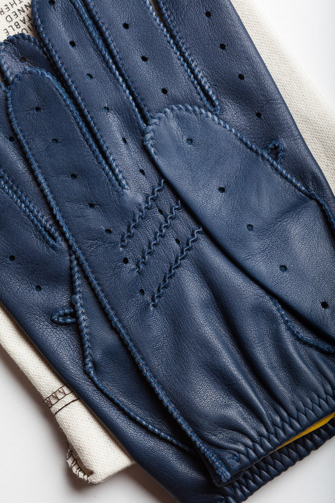 Load image into Gallery viewer, Guantes de conducir azules Cafe Leather Triton Marlin