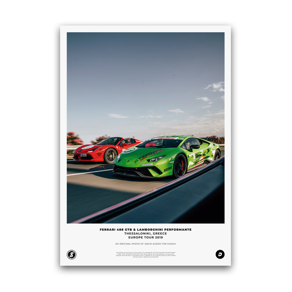 SIX2SIX Europe Tour Lamborghini Performante Poster